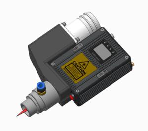 Механическая установка лазерных измерителей длины и скорости SL1220miniW с обдувом линз, т.н. аэроножом (Air Accelerator) и сборкой направляющих из стали